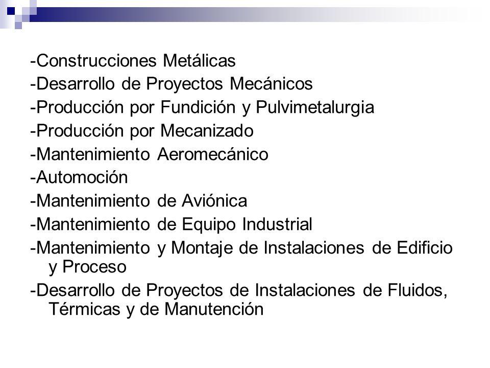 -Construcciones Metálicas -Desarrollo de Proyectos Mecánicos -Producción por Fundición y Pulvimetalurgia -Producción por Mecanizado -Mantenimiento Aer