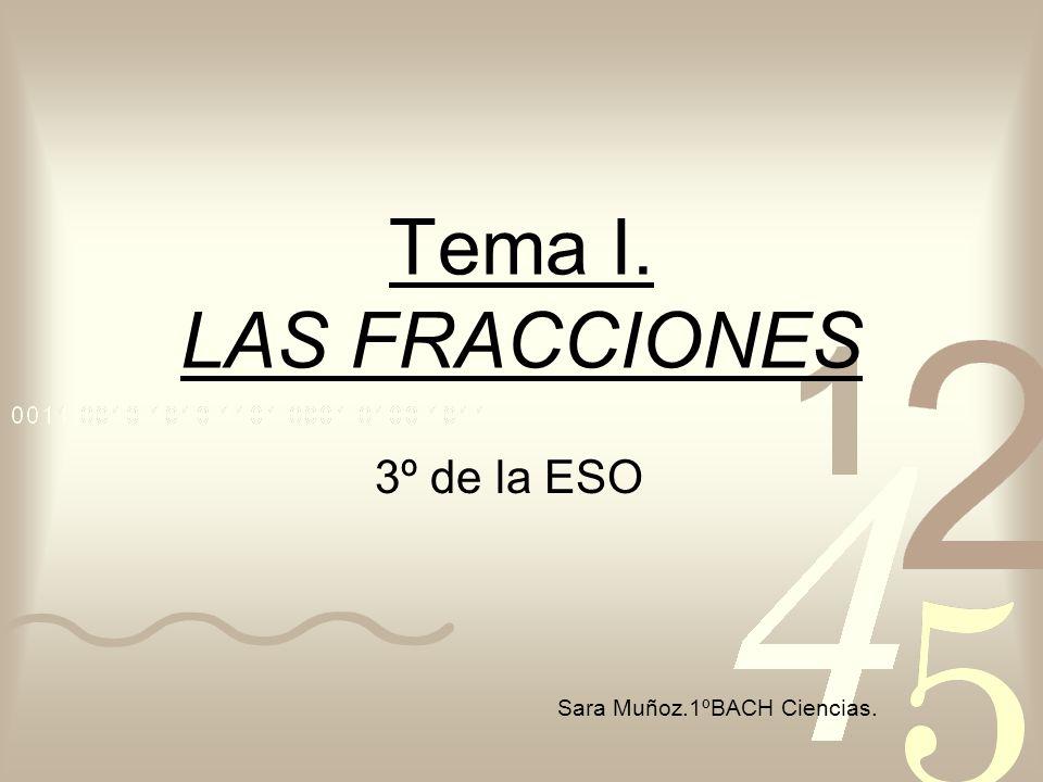 Tema I. LAS FRACCIONES 3º de la ESO Sara Muñoz.1ºBACH Ciencias.