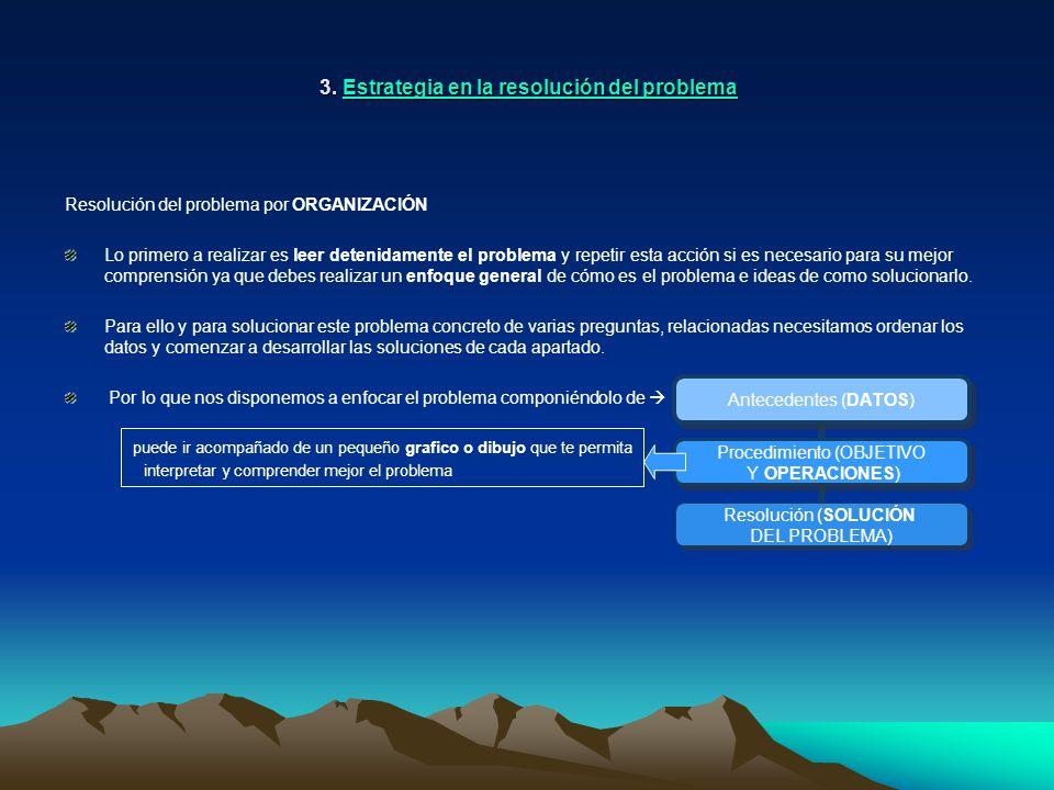 3. Estrategia en la resolución del problema Resolución del problema por ORGANIZACIÓN Lo primero a realizar es leer detenidamente el problema y repetir