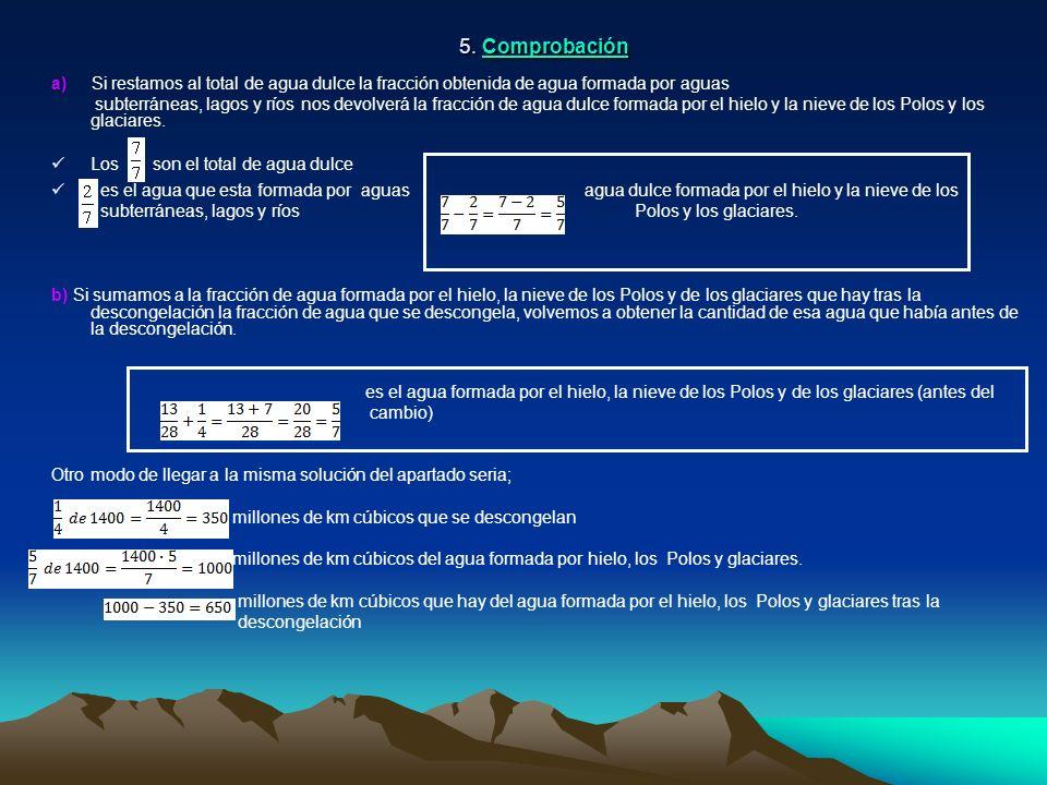 5. Comprobación a) Si restamos al total de agua dulce la fracción obtenida de agua formada por aguas subterráneas, lagos y ríos nos devolverá la fracc