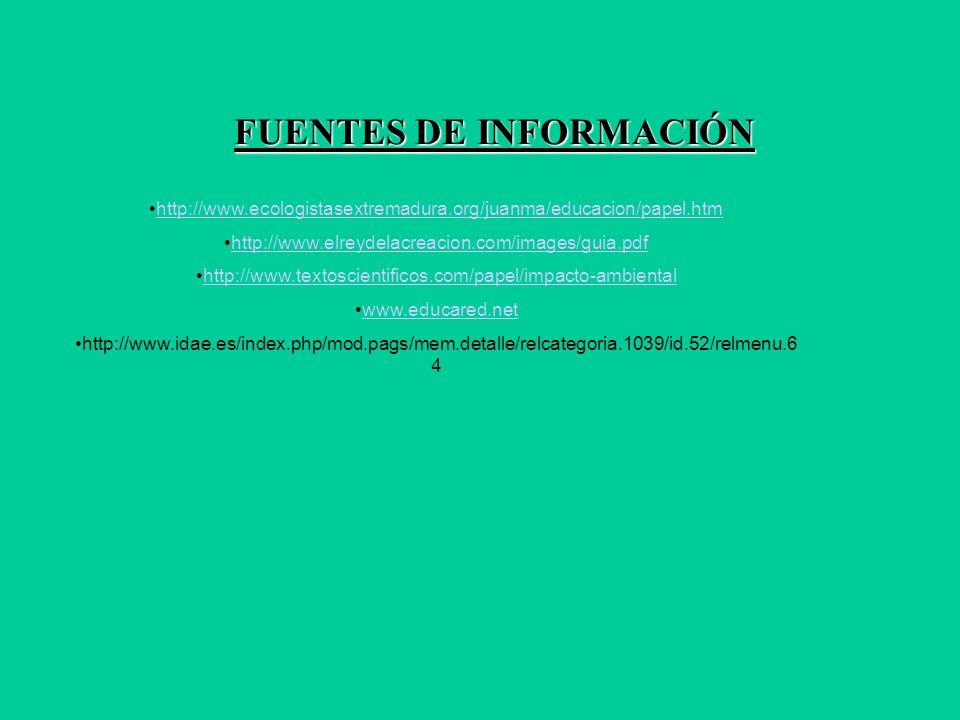 FUENTES DE INFORMACIÓN http://www.ecologistasextremadura.org/juanma/educacion/papel.htm http://www.elreydelacreacion.com/images/guia.pdf http://www.textoscientificos.com/papel/impacto-ambiental www.educared.net http://www.idae.es/index.php/mod.pags/mem.detalle/relcategoria.1039/id.52/relmenu.6 4