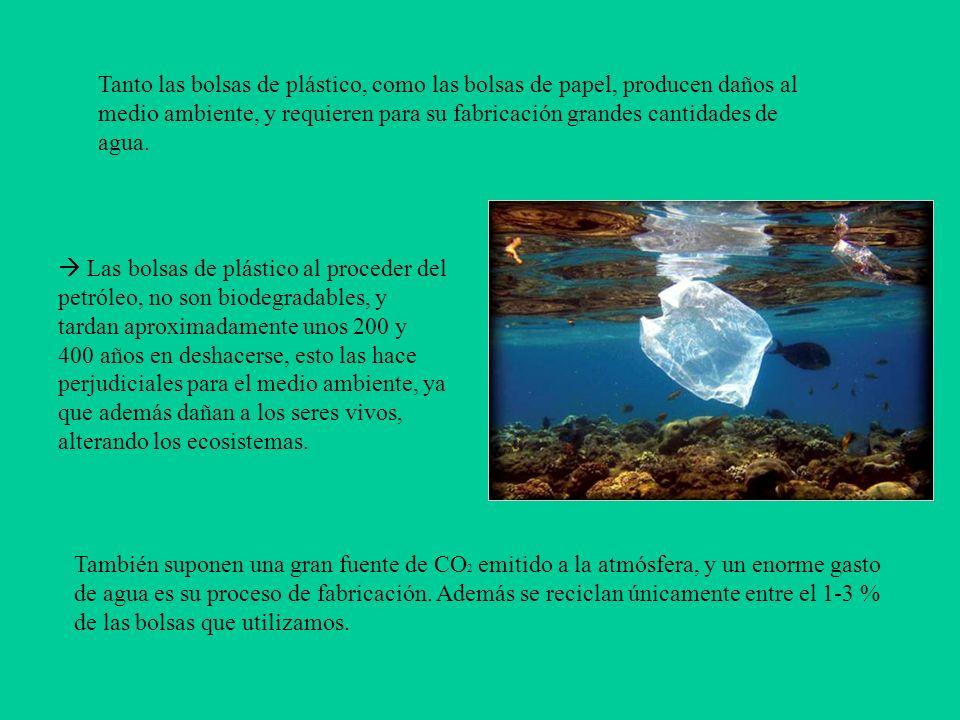 Tanto las bolsas de plástico, como las bolsas de papel, producen daños al medio ambiente, y requieren para su fabricación grandes cantidades de agua.