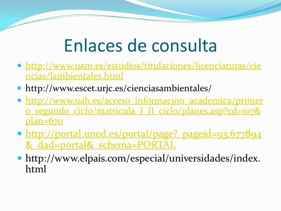 Enlaces de consulta http://www.uam.es/estudios/titulaciones/licenciaturas/cie ncias/lambientales.html http://www.uam.es/estudios/titulaciones/licencia