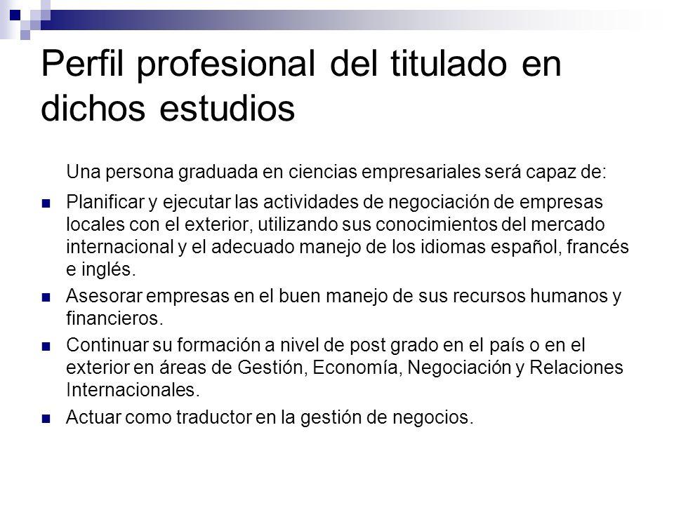 Perfil profesional del titulado en dichos estudios Una persona graduada en ciencias empresariales será capaz de: Planificar y ejecutar las actividades