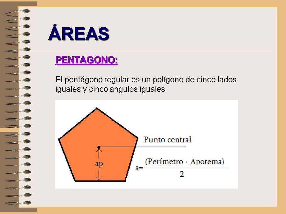 ÁREAS PENTAGONO: El pentágono regular es un polígono de cinco lados iguales y cinco ángulos iguales