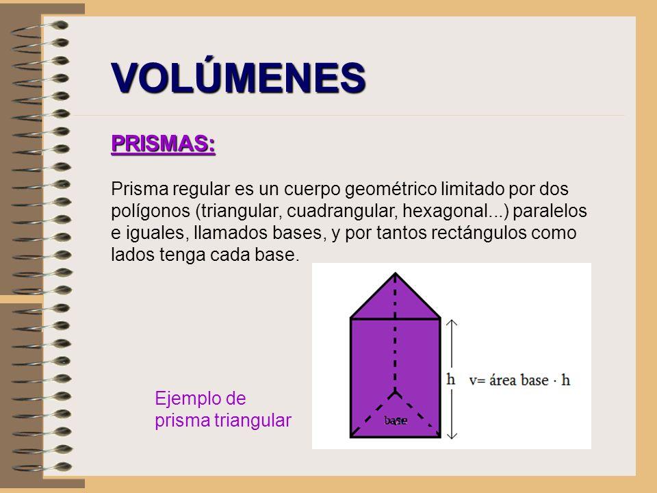 VOLÚMENES PRISMAS: Prisma regular es un cuerpo geométrico limitado por dos polígonos (triangular, cuadrangular, hexagonal...) paralelos e iguales, lla