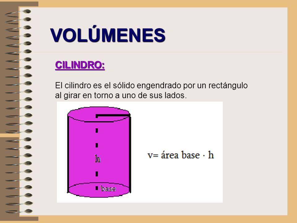 VOLÚMENES CILINDRO: El cilindro es el sólido engendrado por un rectángulo al girar en torno a uno de sus lados.