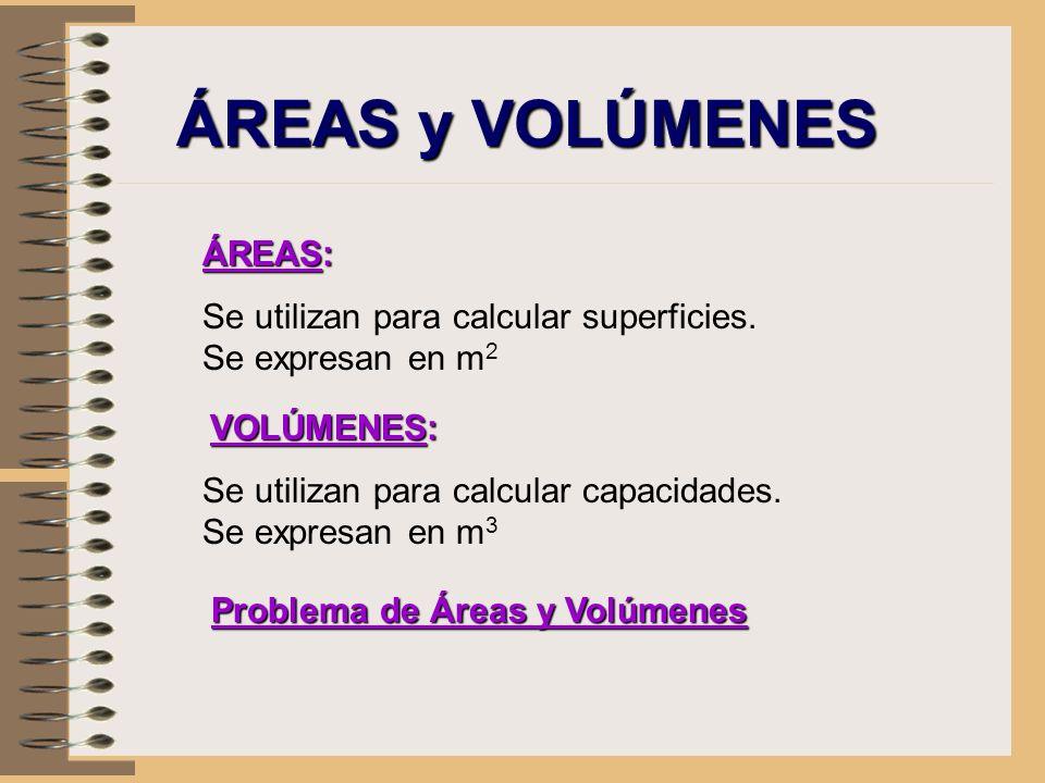ÁREAS y VOLÚMENES ÁREAS: Se utilizan para calcular superficies. Se expresan en m 2 VOLÚMENES: Se utilizan para calcular capacidades. Se expresan en m