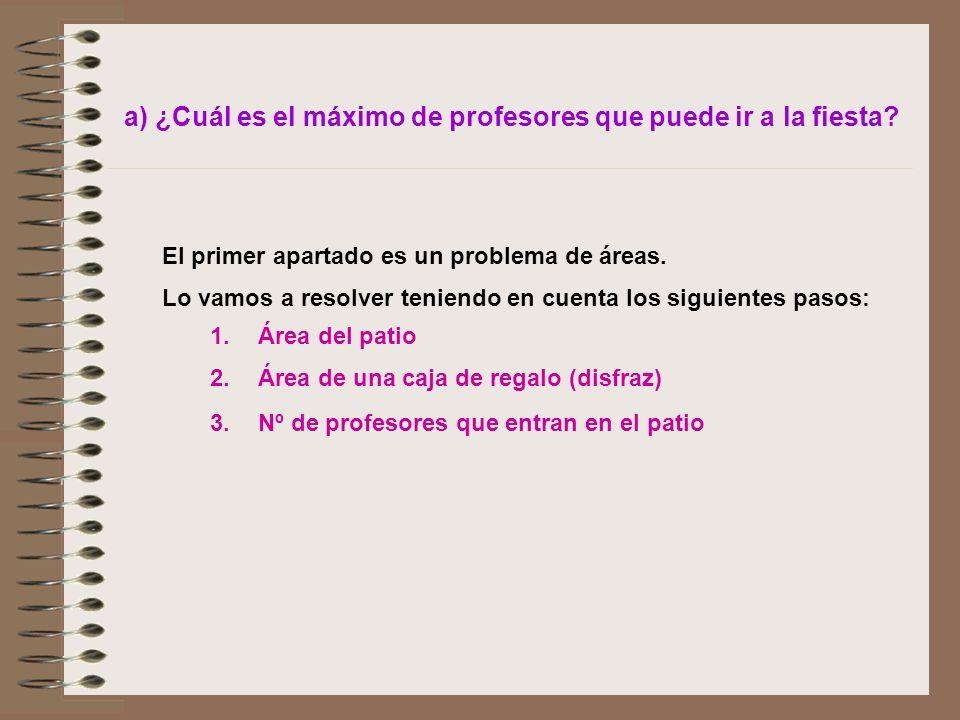 a) ¿Cuál es el máximo de profesores que puede ir a la fiesta? El primer apartado es un problema de áreas. Lo vamos a resolver teniendo en cuenta los s