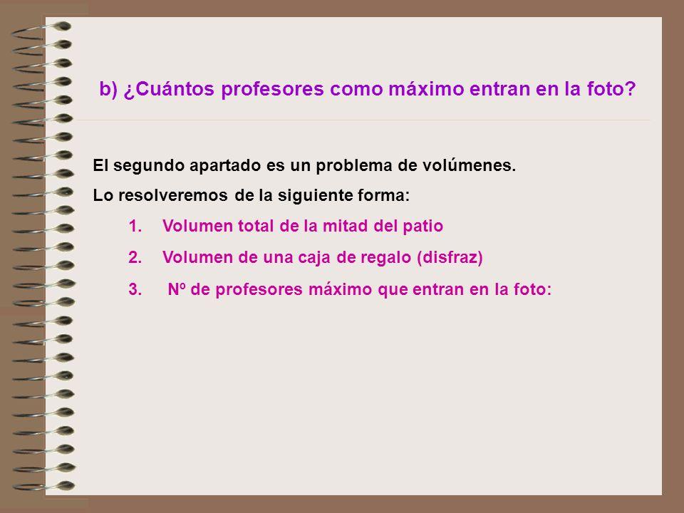 b) ¿Cuántos profesores como máximo entran en la foto? El segundo apartado es un problema de volúmenes. Lo resolveremos de la siguiente forma: 1.Volume