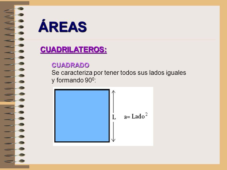 ÁREAS CUADRILATEROS: CUADRADO Se caracteriza por tener todos sus lados iguales y formando 90 0 :