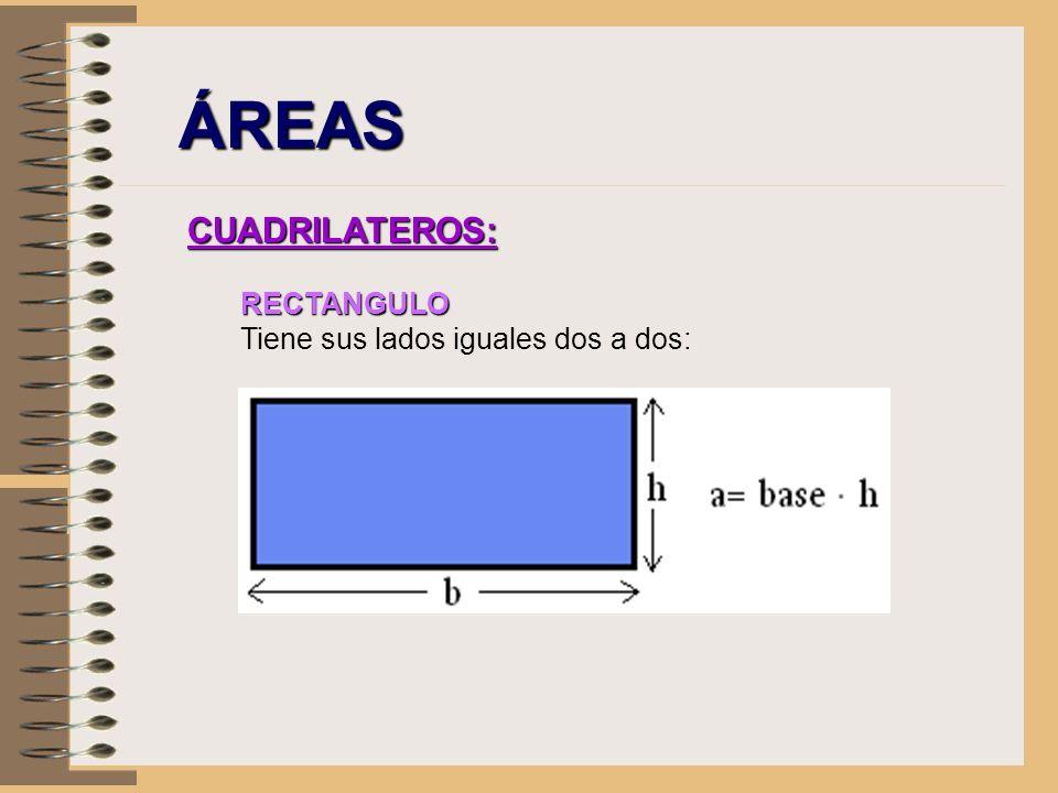 ÁREAS CUADRILATEROS: RECTANGULO Tiene sus lados iguales dos a dos: