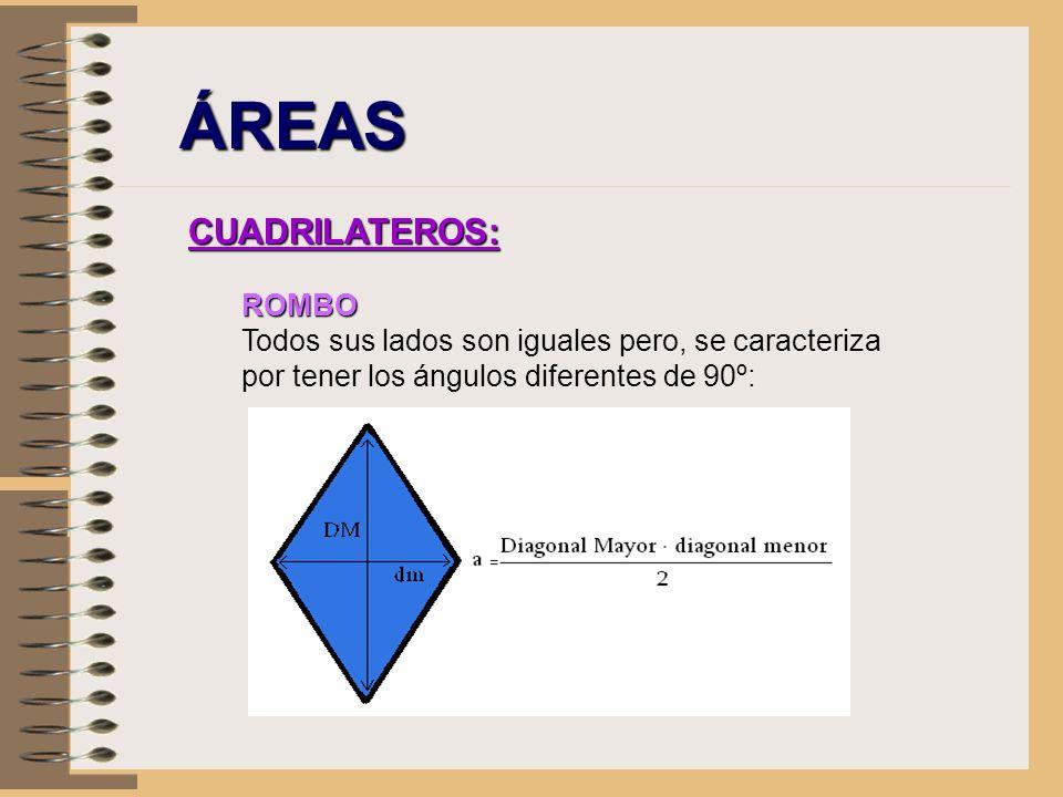 ÁREAS CUADRILATEROS: ROMBO Todos sus lados son iguales pero, se caracteriza por tener los ángulos diferentes de 90º: