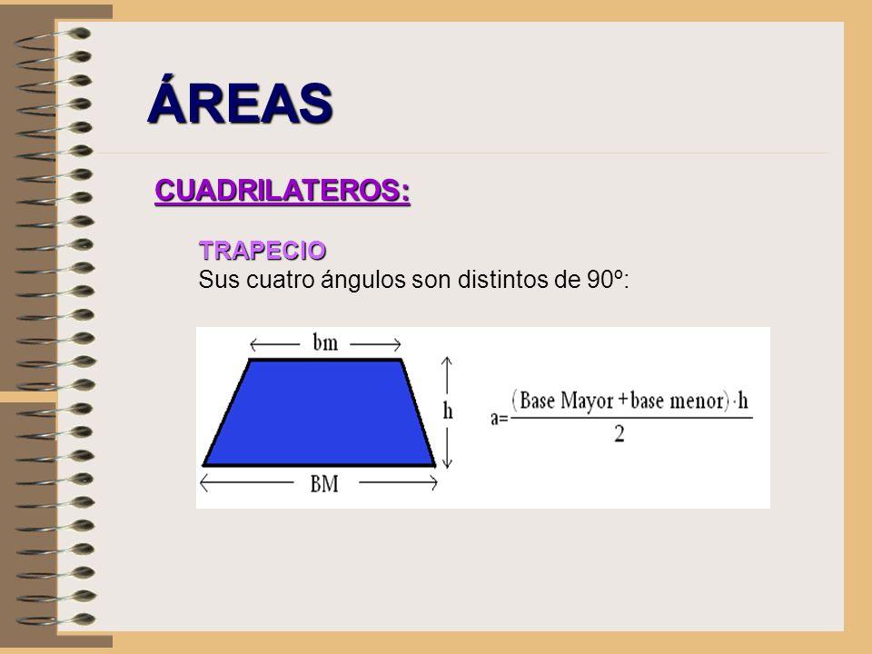 ÁREAS CUADRILATEROS: TRAPECIO Sus cuatro ángulos son distintos de 90º:
