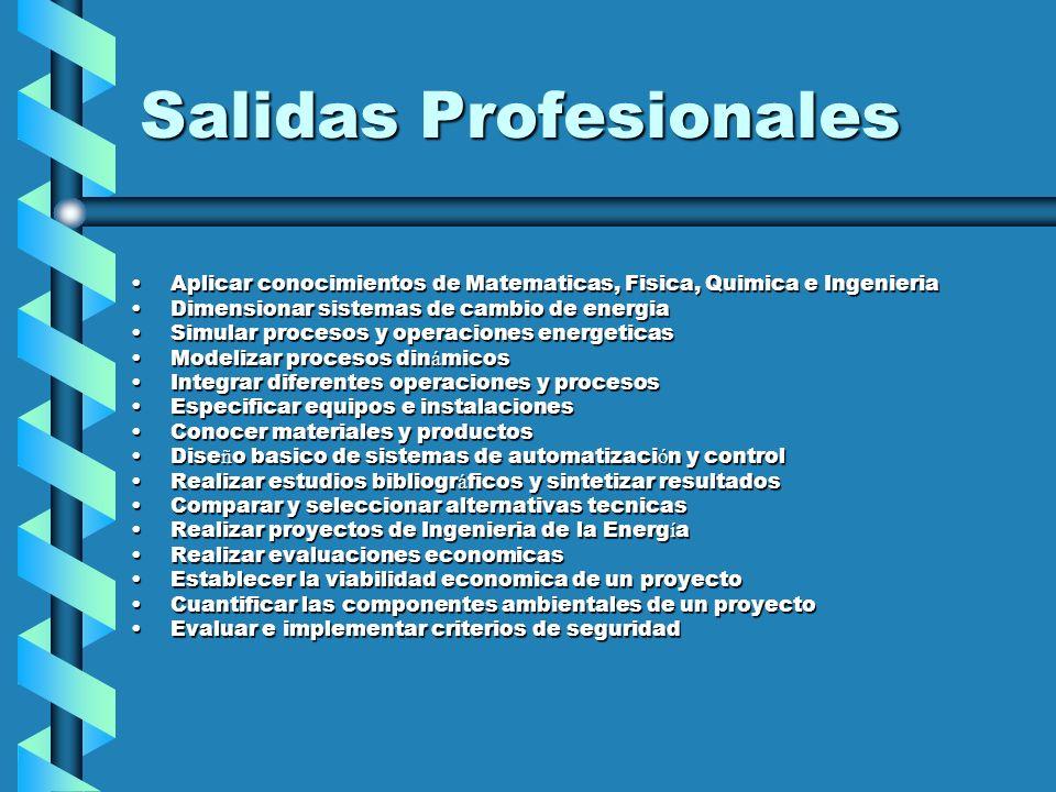 Salidas Profesionales Aplicar conocimientos de Matematicas, Fisica, Quimica e IngenieriaAplicar conocimientos de Matematicas, Fisica, Quimica e Ingeni