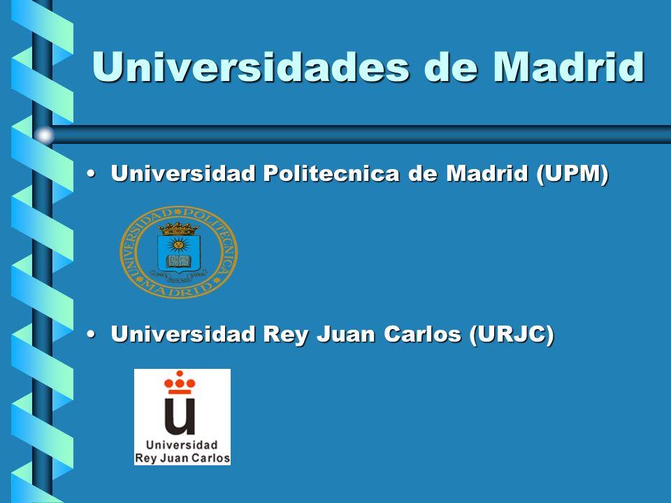 Universidades de Madrid Universidad Politecnica de Madrid (UPM)Universidad Politecnica de Madrid (UPM) Universidad Rey Juan Carlos (URJC)Universidad R