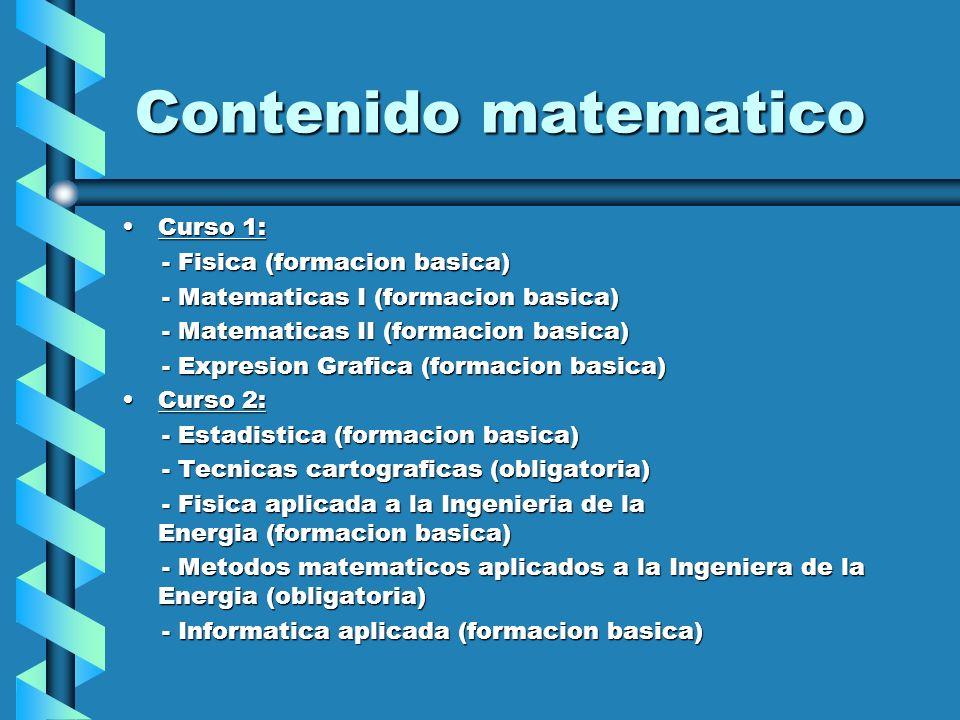 Contenido matematico Curso 1:Curso 1: - Fisica (formacion basica) - Fisica (formacion basica) - Matematicas I (formacion basica) - Matematicas I (form