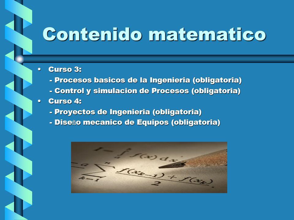 Contenido matematico Curso 3:Curso 3: - Procesos basicos de la Ingenieria (obligatoria) - Procesos basicos de la Ingenieria (obligatoria) - Control y