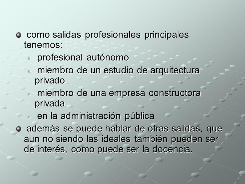 como salidas profesionales principales tenemos: como salidas profesionales principales tenemos: profesional autónomo profesional autónomo miembro de u