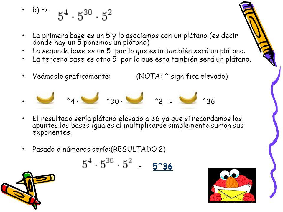 c) => La primera base es un 4 y lo asociamos con una manzana (es decir donde hay un 4 ponemos una manzana) La segunda base es un 4 por lo q esta también será una manzana.