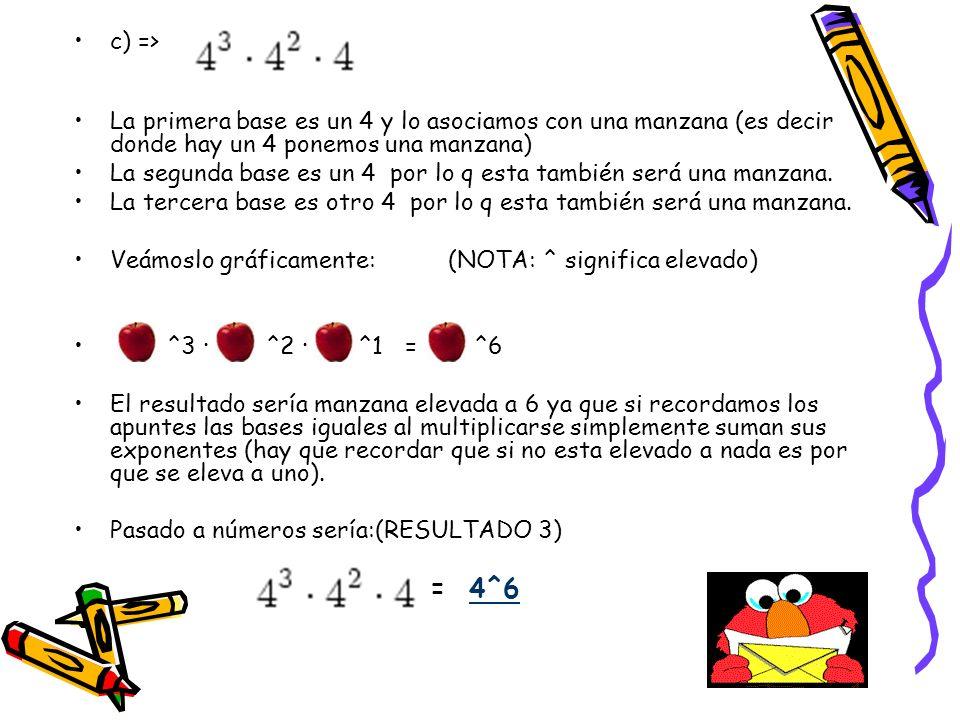 d) => La primera base (dejando de lado el signo) es un 2 y lo asociamos con una fresa (es decir donde hay un 2 ponemos una fresa) La segunda base es un 2 por lo q esta también será una fresa.