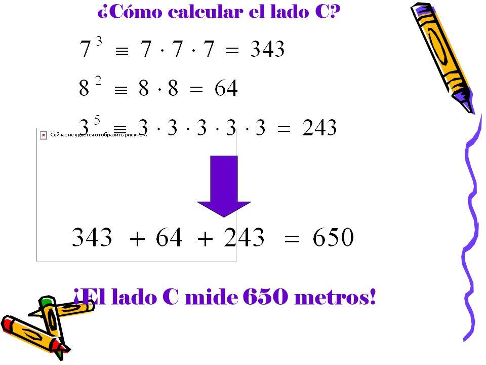 ¿Cómo calcular el lado C? ¡El lado C mide 650 metros!