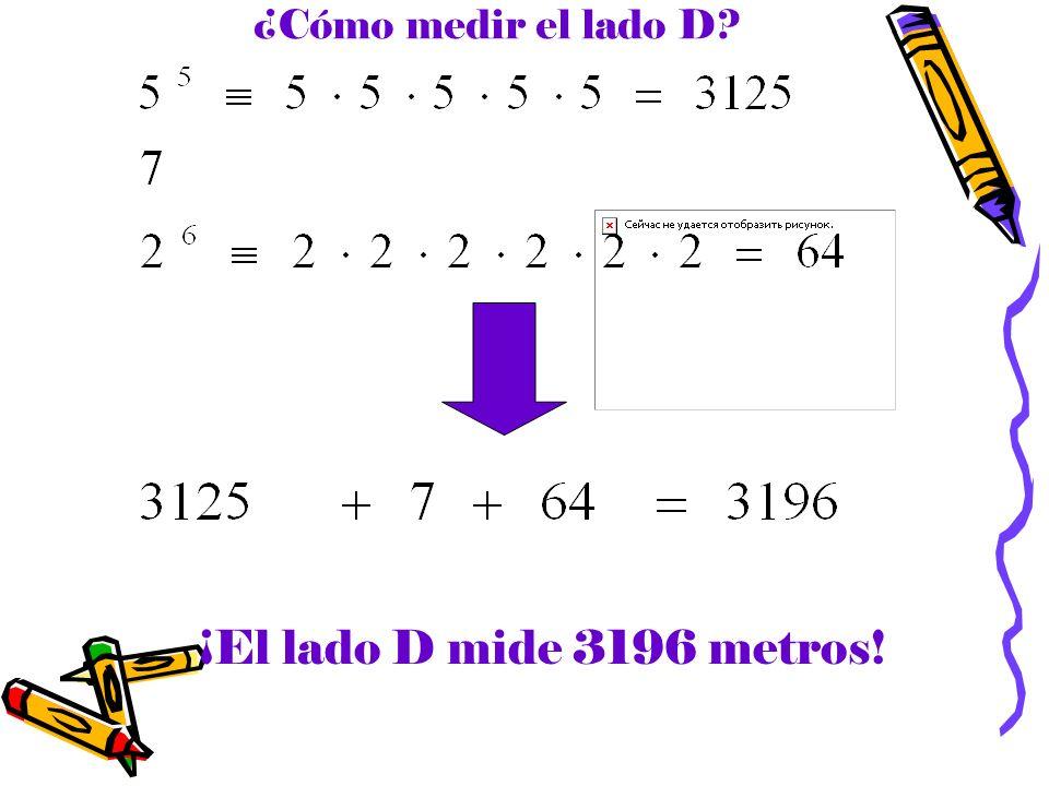 ¿Cómo medir el lado D? ¡El lado D mide 3196 metros!