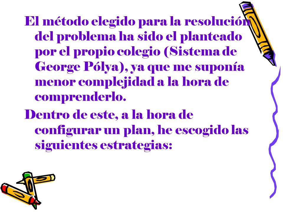 El método elegido para la resolución del problema ha sido el planteado por el propio colegio (Sistema de George Pólya), ya que me suponía menor comple