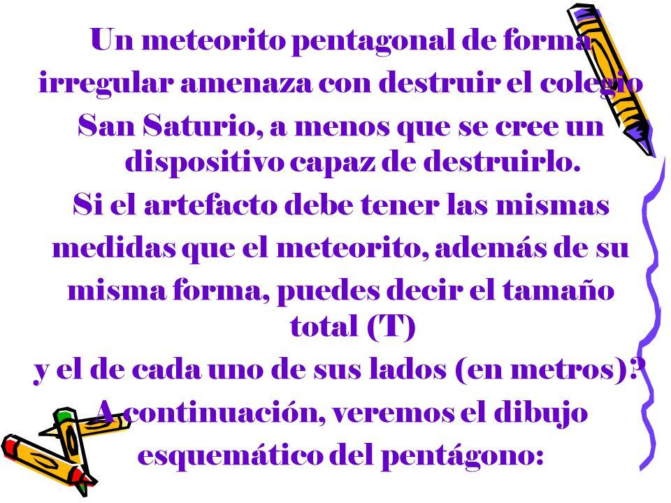 Un meteorito pentagonal de forma irregular amenaza con destruir el colegio San Saturio, a menos que se cree un dispositivo capaz de destruirlo. Si el