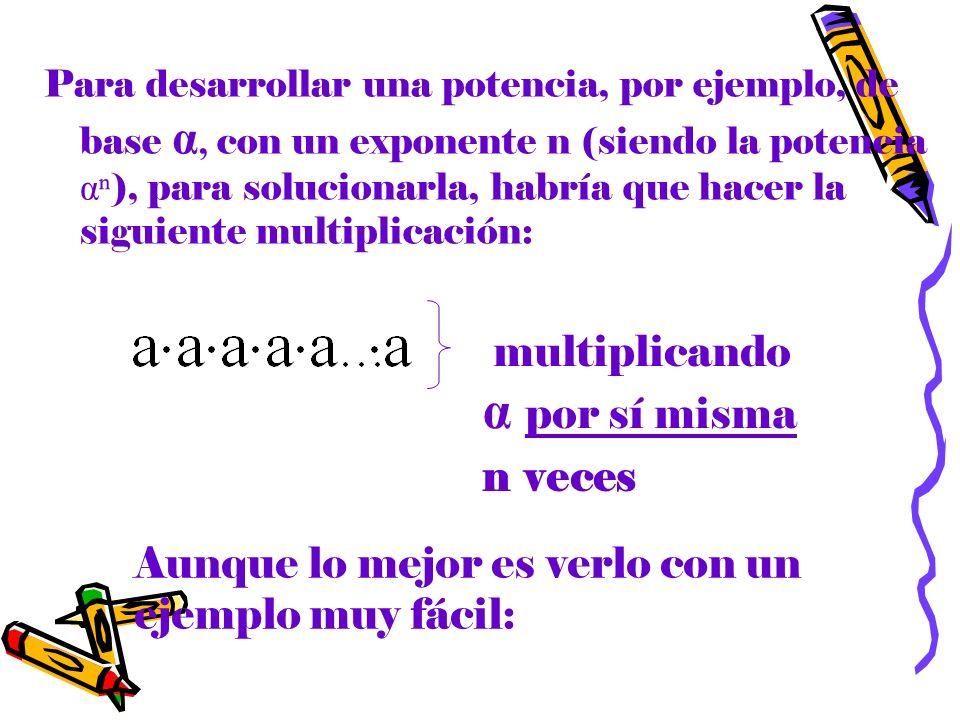 Para desarrollar una potencia, por ejemplo, de base α, con un exponente n (siendo la potencia α ), para solucionarla, habría que hacer la siguiente mu