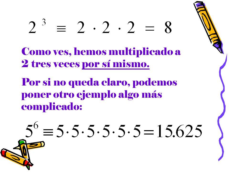Si, como en el problema que se te ha planteado, no hay solo una potencia, sino una suma de potencias, el método a seguir es el mismo: Calcular la potencia de la forma indicada en la página anterior Sumar los números que resulten de las potencias.