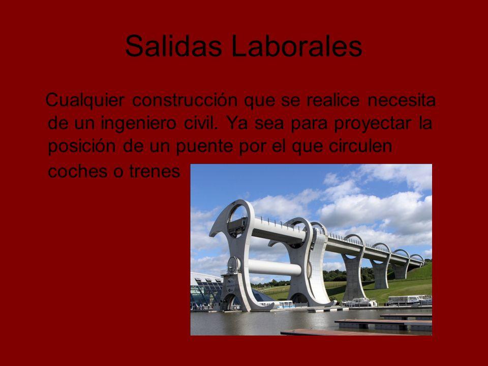 Salidas Laborales La construcción de presas hidráulicas, en donde también se precisan ingenieros ambientales para causar el menor daño posible en el medio