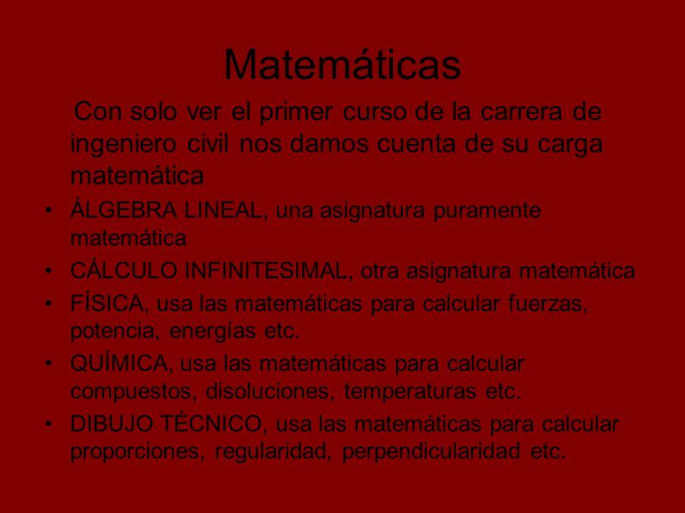 Matemáticas Con solo ver el primer curso de la carrera de ingeniero civil nos damos cuenta de su carga matemática ÁLGEBRA LINEAL, una asignatura puram