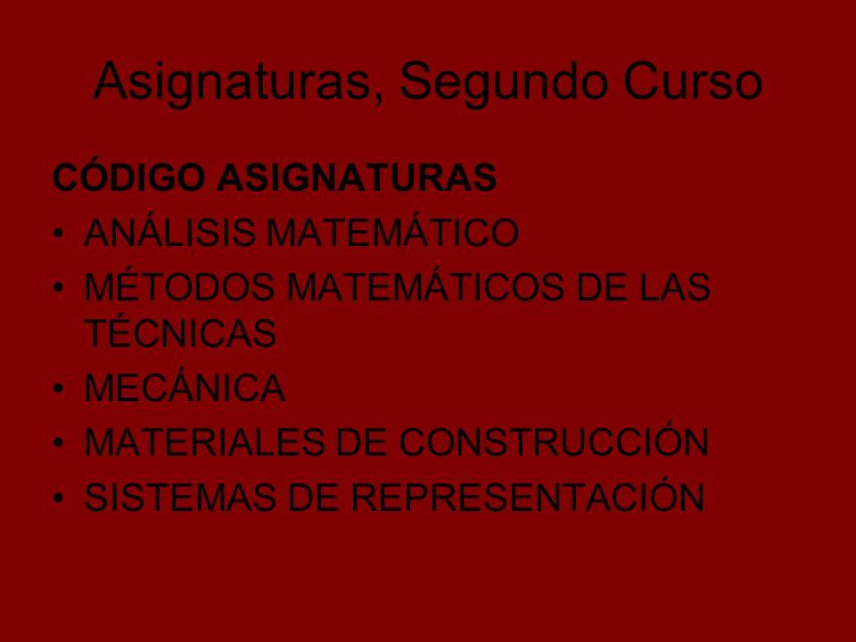 Asignaturas, Segundo Curso CÓDIGO ASIGNATURAS ANÁLISIS MATEMÁTICO MÉTODOS MATEMÁTICOS DE LAS TÉCNICAS MECÁNICA MATERIALES DE CONSTRUCCIÓN SISTEMAS DE