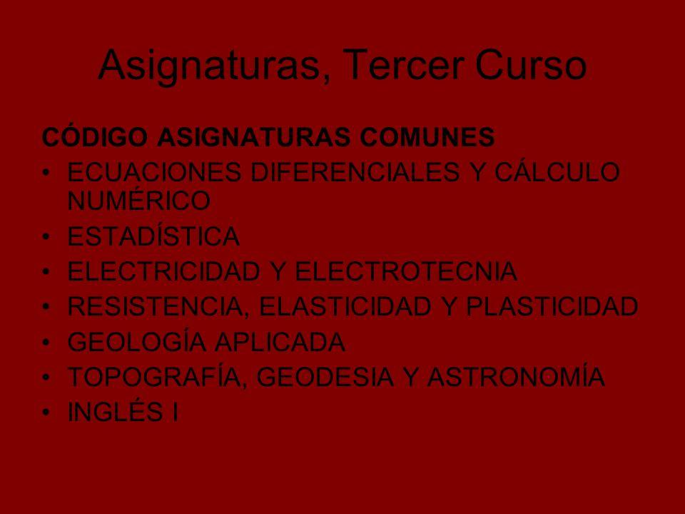 Asignaturas, Tercer Curso CÓDIGO ASIGNATURAS COMUNES ECUACIONES DIFERENCIALES Y CÁLCULO NUMÉRICO ESTADÍSTICA ELECTRICIDAD Y ELECTROTECNIA RESISTENCIA,