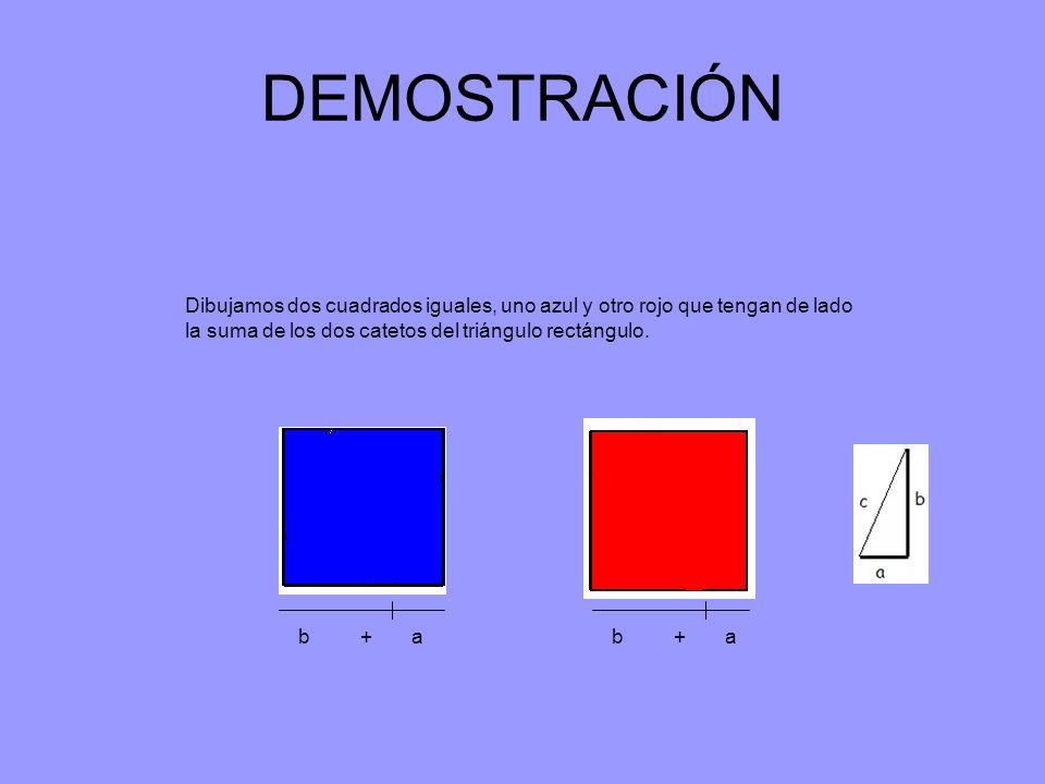 DEMOSTRACIÓN Dibujamos dos cuadrados iguales, uno azul y otro rojo que tengan de lado la suma de los dos catetos del triángulo rectángulo. b + a