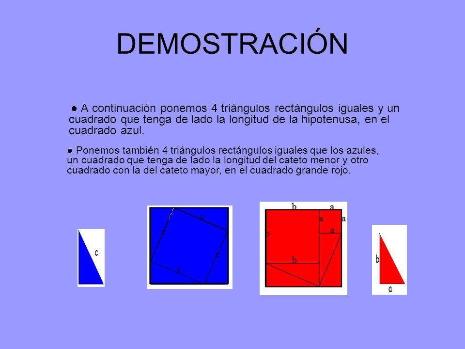 DEMOSTRACIÓN A continuación ponemos 4 triángulos rectángulos iguales y un cuadrado que tenga de lado la longitud de la hipotenusa, en el cuadrado azul