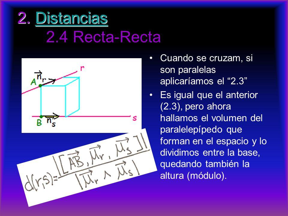 2. Distancias 2. Distancias 2.4 Recta-RectaDistancias Cuando se cruzam, si son paralelas aplicaríamos el 2.3 Es igual que el anterior (2.3), pero ahor