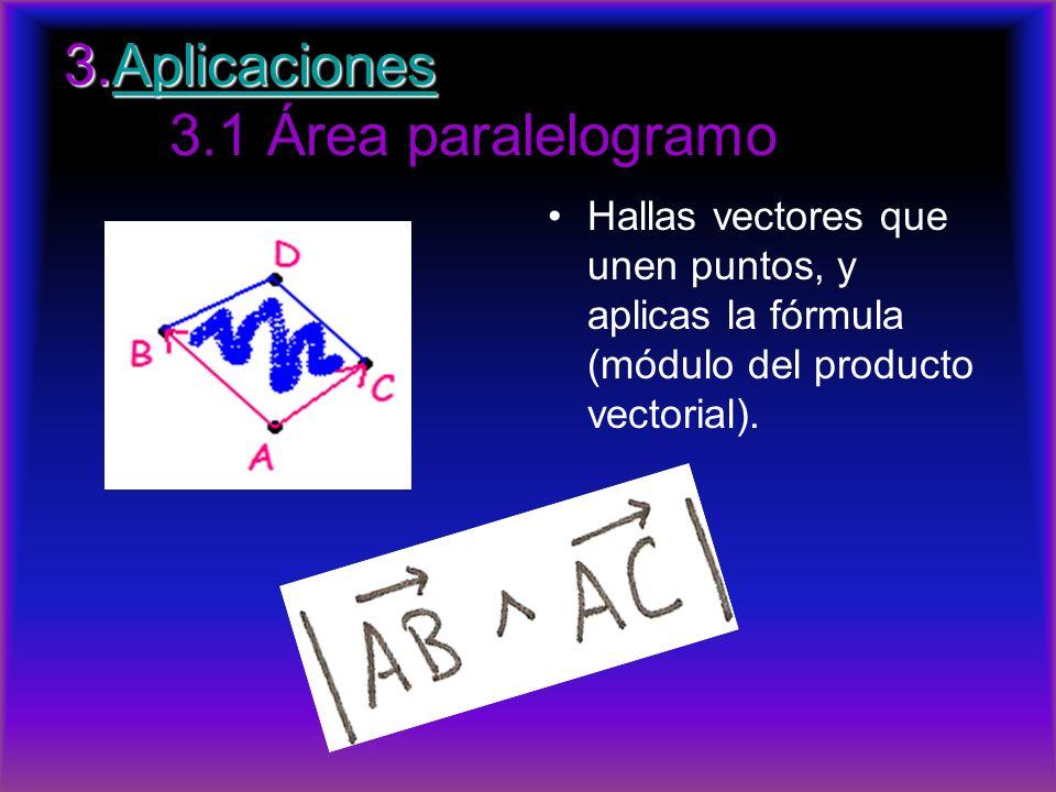 3.Aplicaciones 3.Aplicaciones 3.1 Área paralelogramoAplicaciones Hallas vectores que unen puntos, y aplicas la fórmula (módulo del producto vectorial)