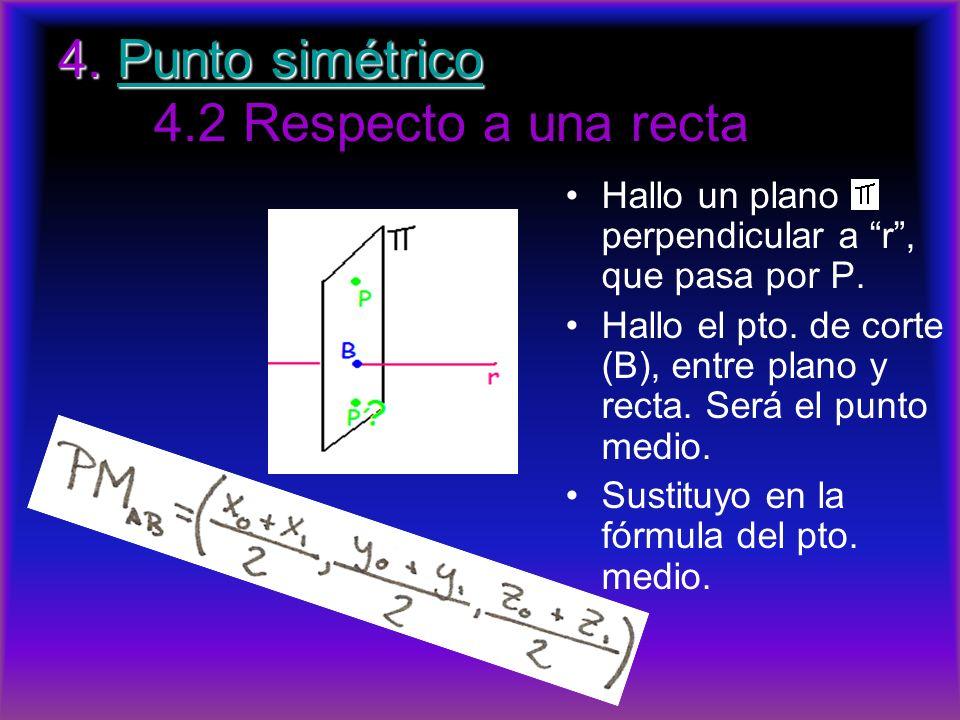 4. Punto simétrico 4. Punto simétrico 4.2 Respecto a una rectaPunto simétricoPunto simétrico Hallo un plano perpendicular a r, que pasa por P. Hallo e
