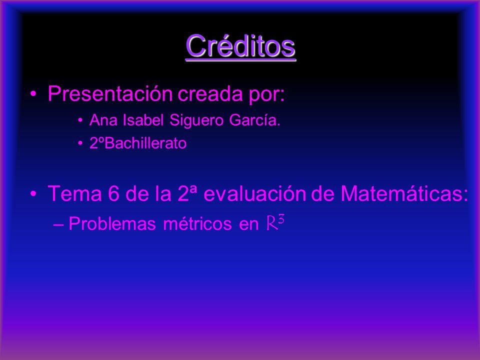 Créditos Presentación creada por: Ana Isabel Siguero García. 2ºBachillerato Tema 6 de la 2ª evaluación de Matemáticas: –Problemas métricos en R 3