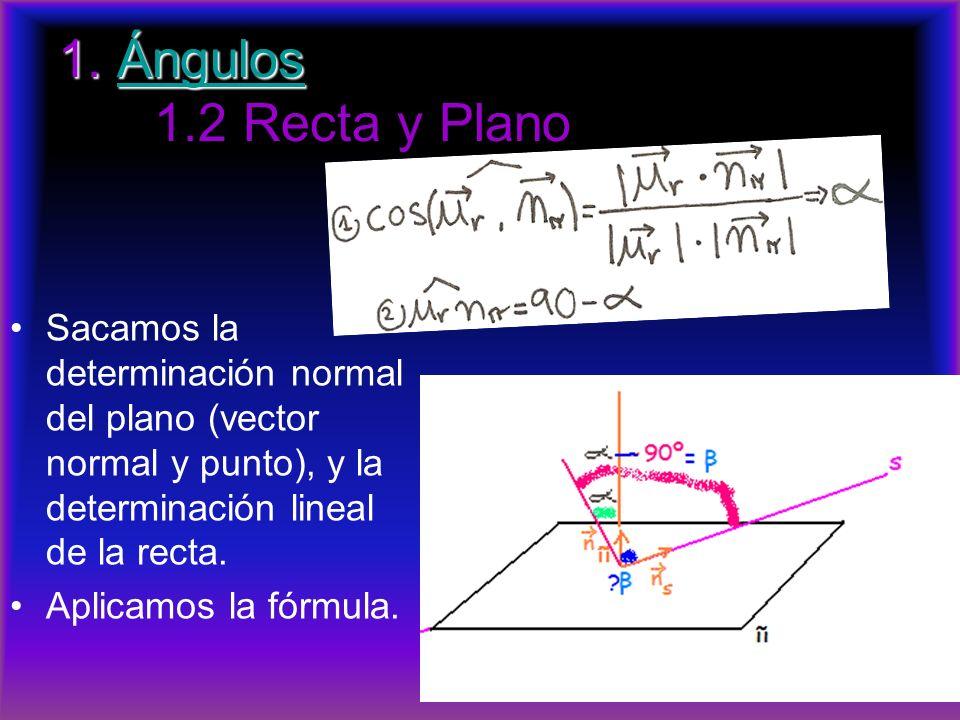 1. Ángulos 1. Ángulos 1.2 Recta y PlanoÁngulos Sacamos la determinación normal del plano (vector normal y punto), y la determinación lineal de la rect