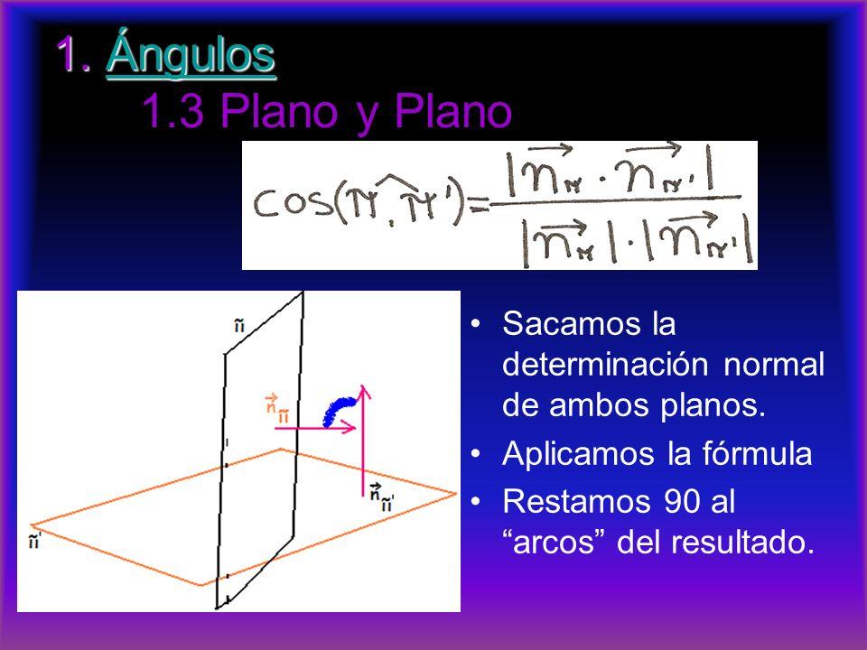 1. Ángulos 1. Ángulos 1.3 Plano y PlanoÁngulos Sacamos la determinación normal de ambos planos. Aplicamos la fórmula Restamos 90 al arcos del resultad