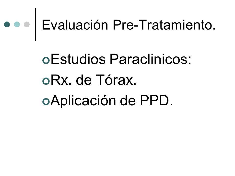 Evaluación Pre-Tratamiento. Estudios Paraclinicos: Rx. de Tórax. Aplicación de PPD.