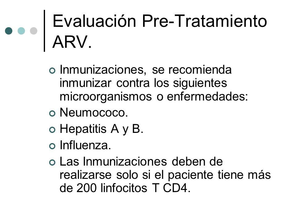 Evaluación Pre-Tratamiento ARV. Inmunizaciones, se recomienda inmunizar contra los siguientes microorganismos o enfermedades: Neumococo. Hepatitis A y