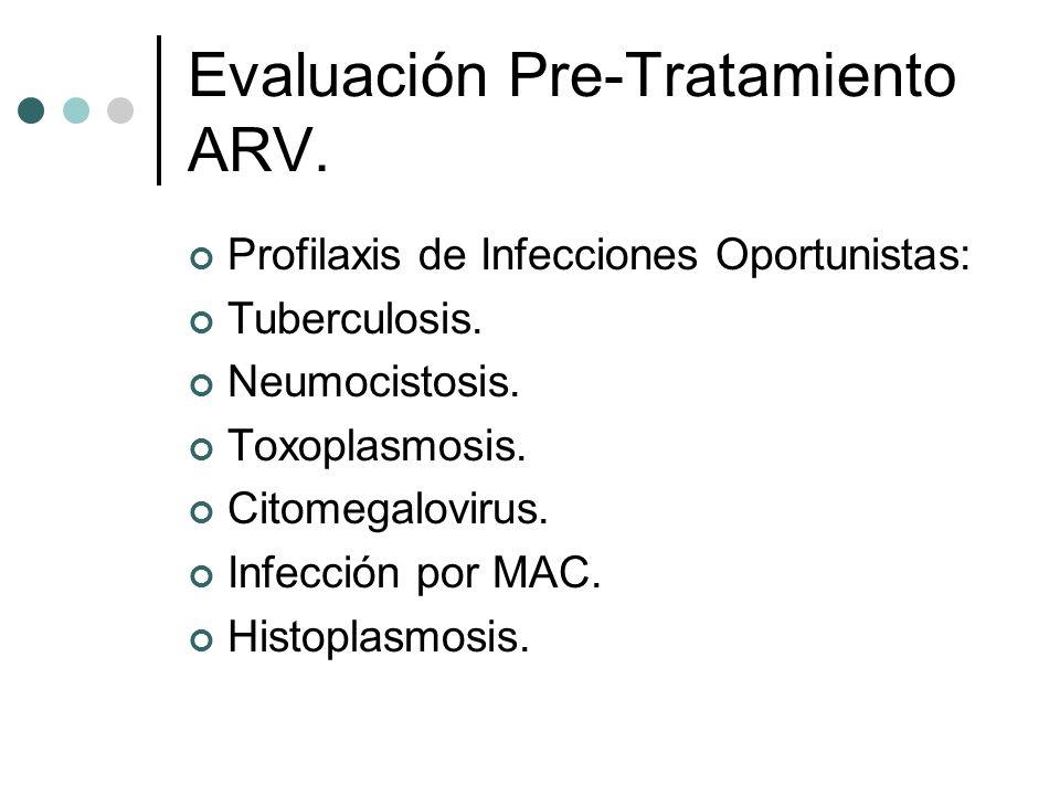 Evaluación Pre-Tratamiento ARV. Profilaxis de Infecciones Oportunistas: Tuberculosis. Neumocistosis. Toxoplasmosis. Citomegalovirus. Infección por MAC