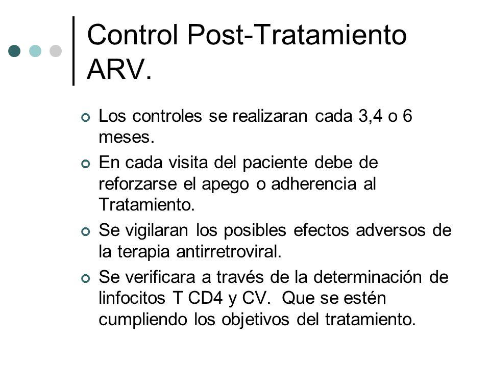 Control Post-Tratamiento ARV. Los controles se realizaran cada 3,4 o 6 meses. En cada visita del paciente debe de reforzarse el apego o adherencia al