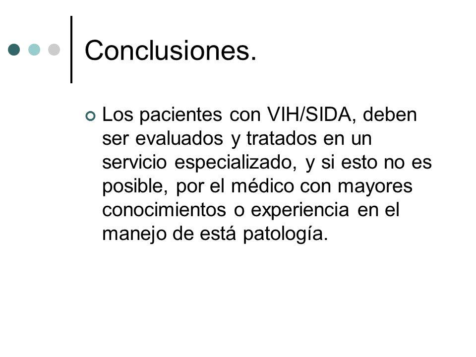Conclusiones. Los pacientes con VIH/SIDA, deben ser evaluados y tratados en un servicio especializado, y si esto no es posible, por el médico con mayo