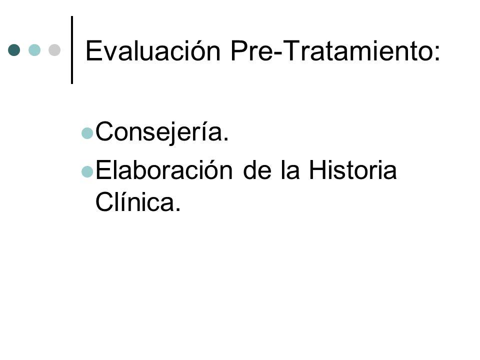 Evaluación Pre-Tratamiento: Consejería. Elaboración de la Historia Clínica.