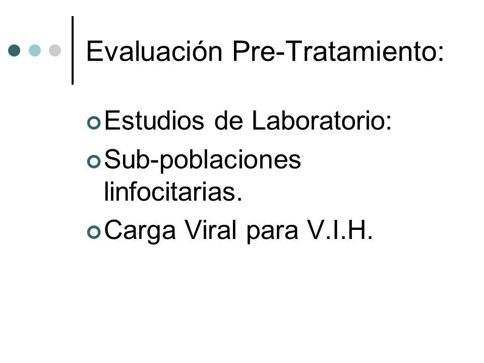 Evaluación Pre-Tratamiento: Estudios de Laboratorio: Sub-poblaciones linfocitarias. Carga Viral para V.I.H.